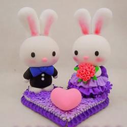婚礼用情侣兔子摆件DIY 结婚兔子手工制作教程