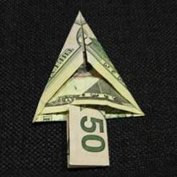 美元圣诞树的折法图解 纸币折纸圣诞树步骤
