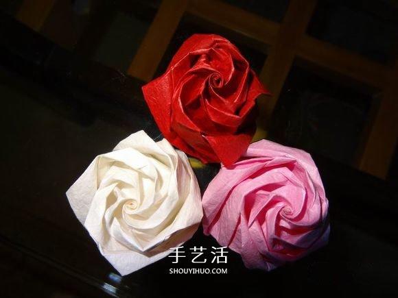 卷心玫瑰花的折法图解 卷心玫瑰折纸教程详细