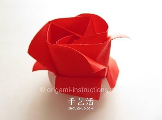 川崎玫瑰花折法教程 川崎玫瑰改良版折纸图解 3图片