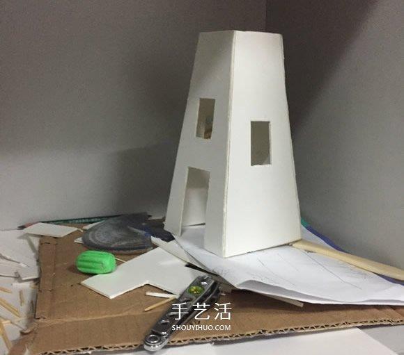 荷兰图纸风车制作方法PVC板做荷兰风车的教v图纸图塔板式模型图片