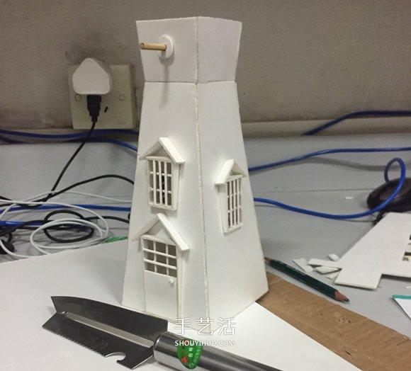 荷兰风车母鸡制作方法PVC板做荷兰风车的教模贝模型5.5图纸v风车图片