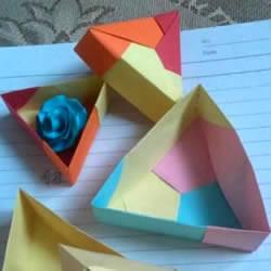 三角形纸盒折法带盖 折纸三角盒子图解教程