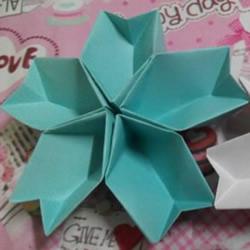 折纸樱花的方法图解 组合式樱花折叠步骤图