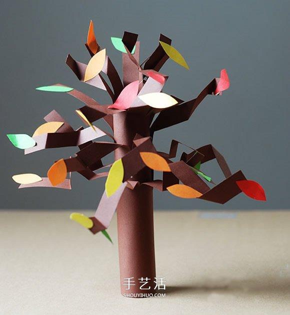 幼儿园大树手工制作 简单立体大树的做法教程图片
