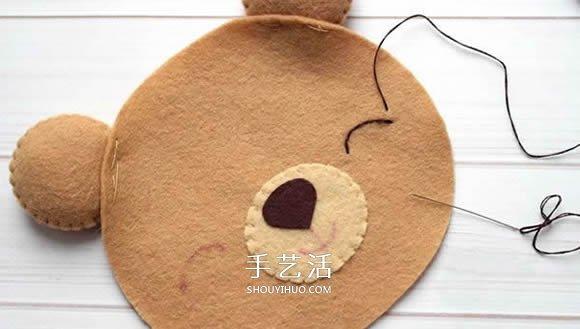 不织布新年小熊制作 超萌小熊布偶diy图解图片