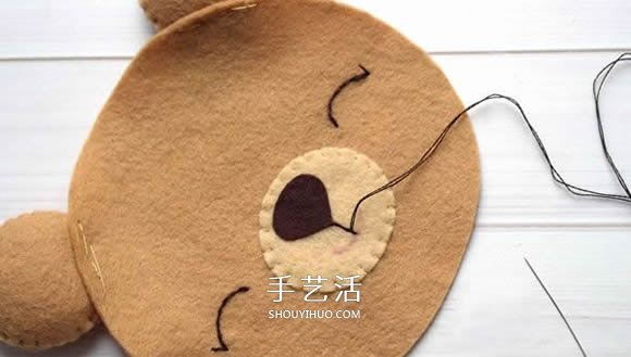 不织布新年小熊制作 超萌小熊布偶diy图解(2)
