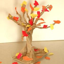 牛皮纸袋做立体大树 幼儿园大树的制作方法