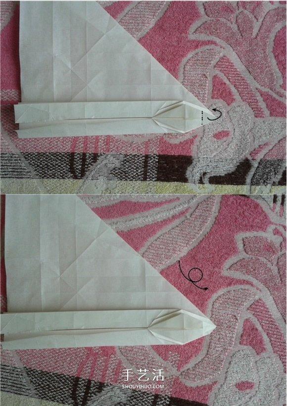victor客机的折法图解 复杂折纸客机的步骤图(3)
