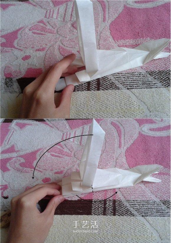 victor客机的折法图解 复杂折纸客机的步骤图(4)