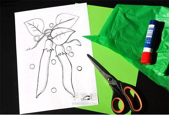 幼儿小手工制作图解 用纸做可爱的豌豆荚做法 - www.shougong.com