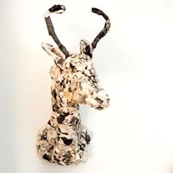 废旧报纸DIY鹿头标本 简易驼鹿头部标本的做法