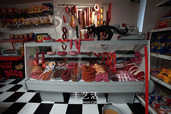 Lucy Sparrow的杂货店 所有食品都是羊毛毡制作 -  www.shouyihuo.com