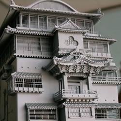 模型零件组装《千与千寻》里的汤婆婆汤屋模型