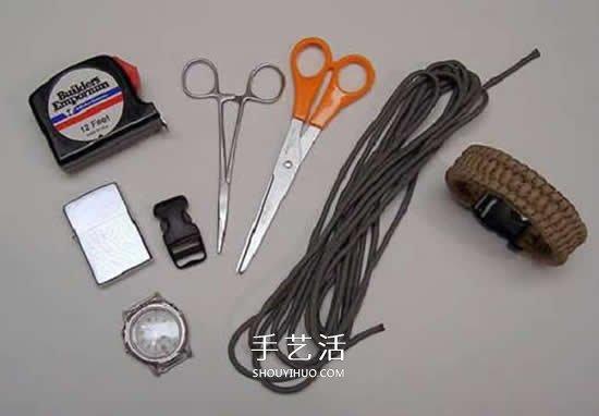 伞绳表带的编织方法 用伞绳编织表带的图解