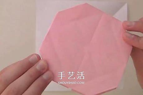扁平玫瑰花的折法图解 组合式平玫瑰折纸教程