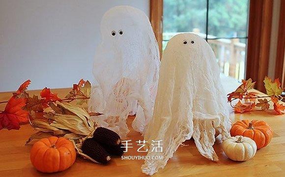 纱布做万圣节幽灵的方法 简单可爱幽灵diy制作