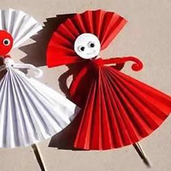 手工折纸小人的步骤图解 幼儿园折纸人的折法