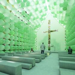 彷彿下一秒就飞走!森林围绕的绿色球体教堂