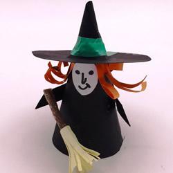 卡纸做女巫的图解教程 万圣节女巫手工制作