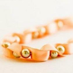 自制丝带串珠项链图解 优雅带珠子丝带项链DIY