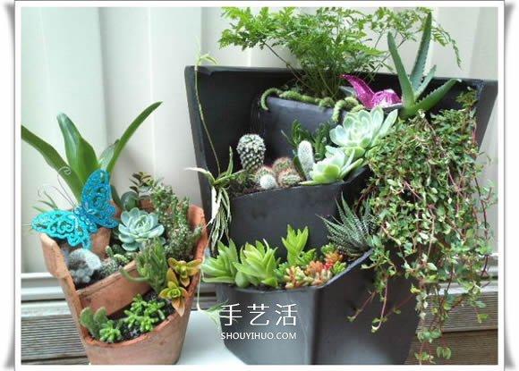 废物利用 环保手工  三层空间相互独立,便于观赏 两个破花盆制作的