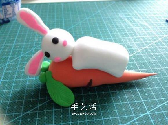 超轻粘土制作可爱兔子和胡萝卜的图解教程 -  www.shouyihuo.com