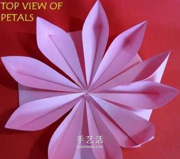 折纸大全 折纸花  再把花蕊粘贴到花朵上,一朵有点像莲花的海棠花就