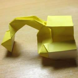 挖土机的折纸方法图解 手工挖掘机的折法过程