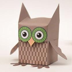 猫头鹰盒子的折纸方法 卡纸折猫头鹰收纳盒