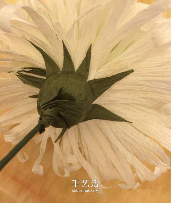 重阳节纸菊花的做法 皱纹纸手工制作菊花图解