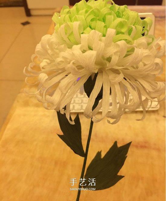 重阳节纸菊花的做法 皱纹纸手工制作菊花图解 -  www.shouyihuo.com