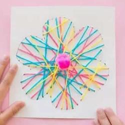 毛线绕线花朵图案制作 儿童用毛线做花的教程