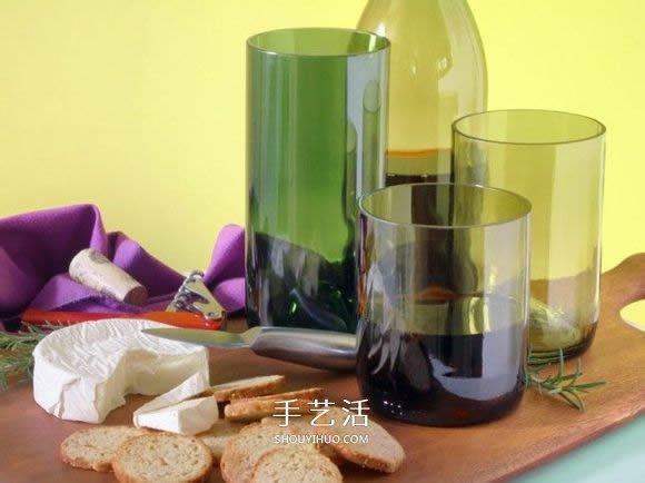 红酒瓶子废物利用 diy手工制作漂亮的酒杯