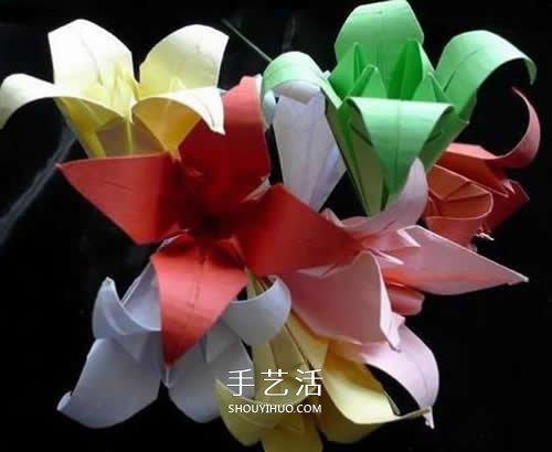 手工折叠百合花图解 简单纸百合的折法步骤 -  www.shouyihuo.com