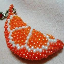 串珠制作橙瓣钥匙链 水果风串珠钥匙挂件DIY