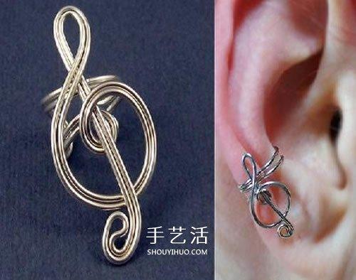 银线制作高音谱号耳饰 没有耳洞也可以佩戴