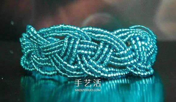 串珠宽手镯编织图解 好看串珠手镯的编法步骤