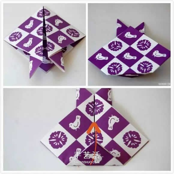 幼儿折纸兔头的方法 简易手工兔头的折法图解