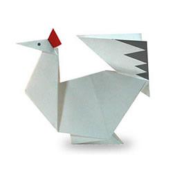 幼儿折纸大公鸡图解 简单公鸡的折法教程