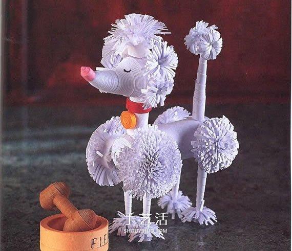 衍纸贵宾犬的做法图解 衍纸手工制作贵妇犬 -  www.shouyihuo.com