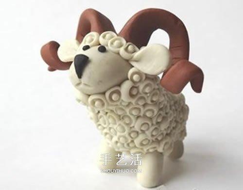 超轻粘土制作长角小羊 有角绵羊粘土diy图解