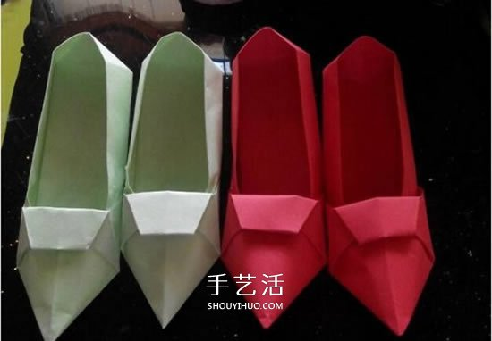 简易高跟鞋的折法图解 手工折纸高跟鞋的方法