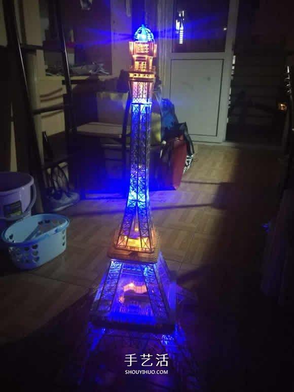 竹签手工制作埃菲尔铁塔模型的详细图解教程(17)