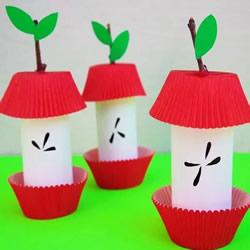 幼儿手工制作苹果核 卷纸筒做苹果核的方法