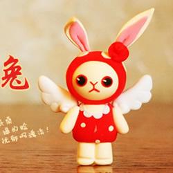 超轻粘土DIY天使兔子 可爱卡通兔子粘土制作