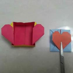 请打开我的心!好玩的爱心盒子折纸图解