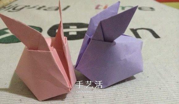 立体兔子的简单折法 儿童手工折纸兔子图解图片