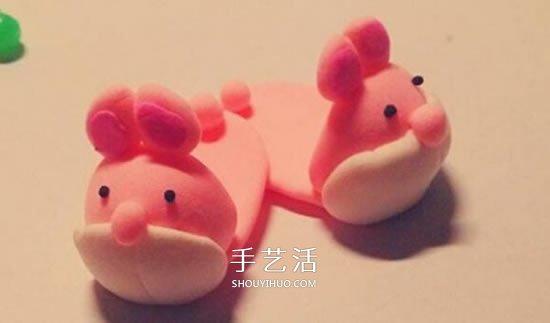 超轻粘土DIY兔子拖鞋 粉红兔子拖鞋粘土教程 -  www.shouyihuo.com