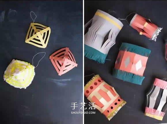 四种简单纸灯笼的做法 幼儿手工灯笼制作教程 -  www.shouyihuo.com
